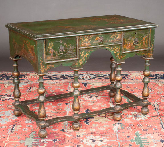 18th Century Green And Gold Chinoiserie Lacquered Lowboy