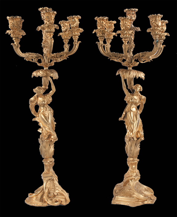 Pair of Louis XV Style Bronze Ormolu 6 Branch Candelabras