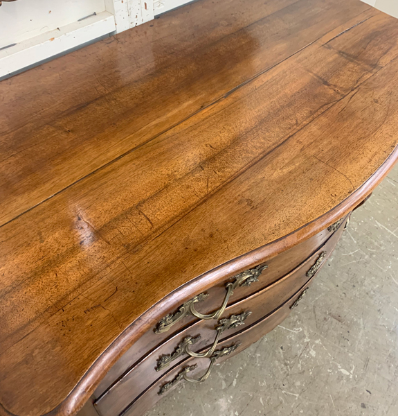 Country French Walnut Serpentine Front Commode