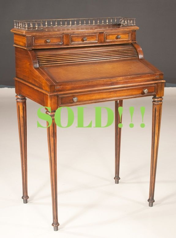 English Regency Style Mahogany Cylinder Desk  (SOLD)