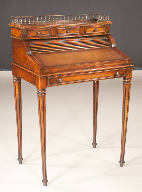 English Regency Style Mahogany Cylinder Desk