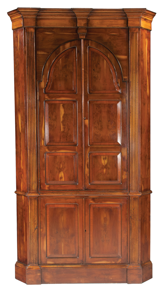 Georgian Style Yew Wood Corner Cabinet