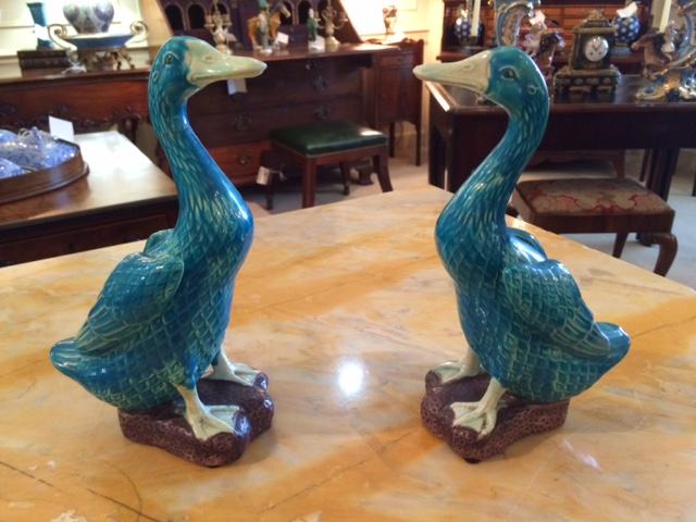 Pair of Porcelain Ducks, Turquoise