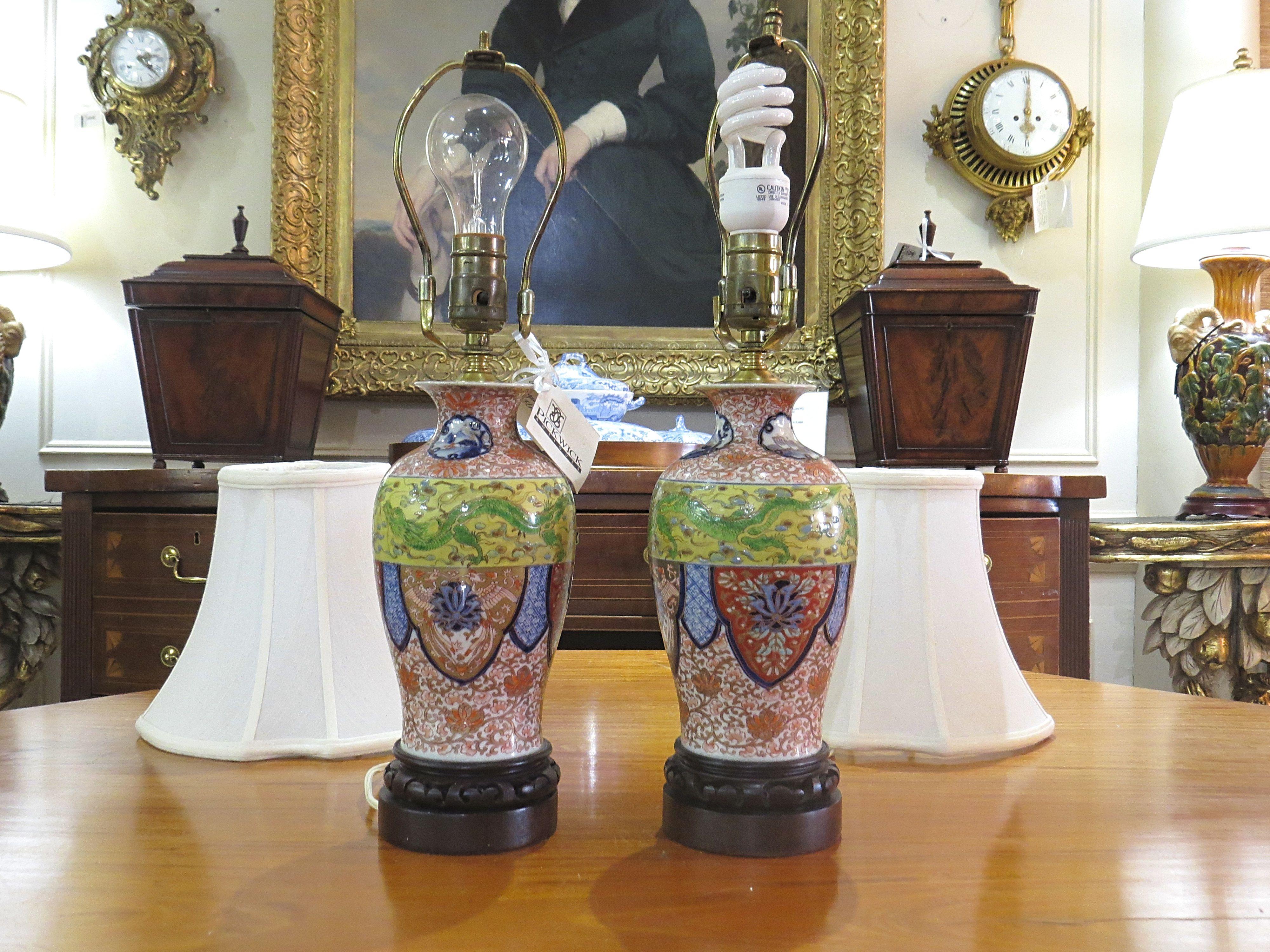 Petite Pair of Asian Inspired Porcelain Lamps