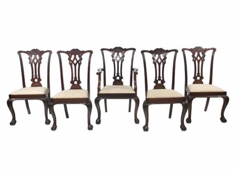 Set of 10 Chippendale Style Mahogany Dining Chairs