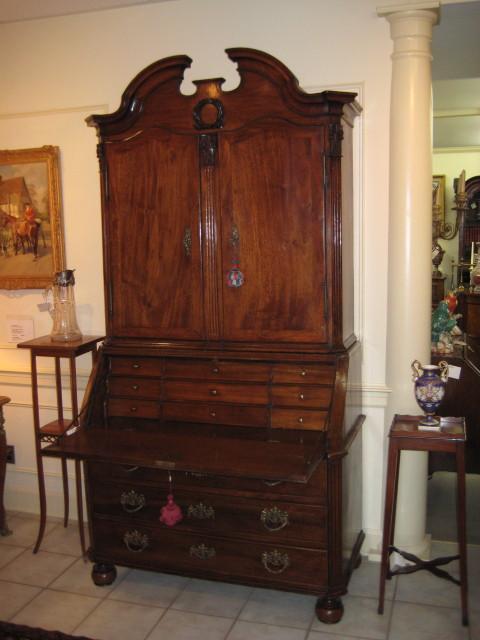 Flemish Walnut Bureau Bookcase