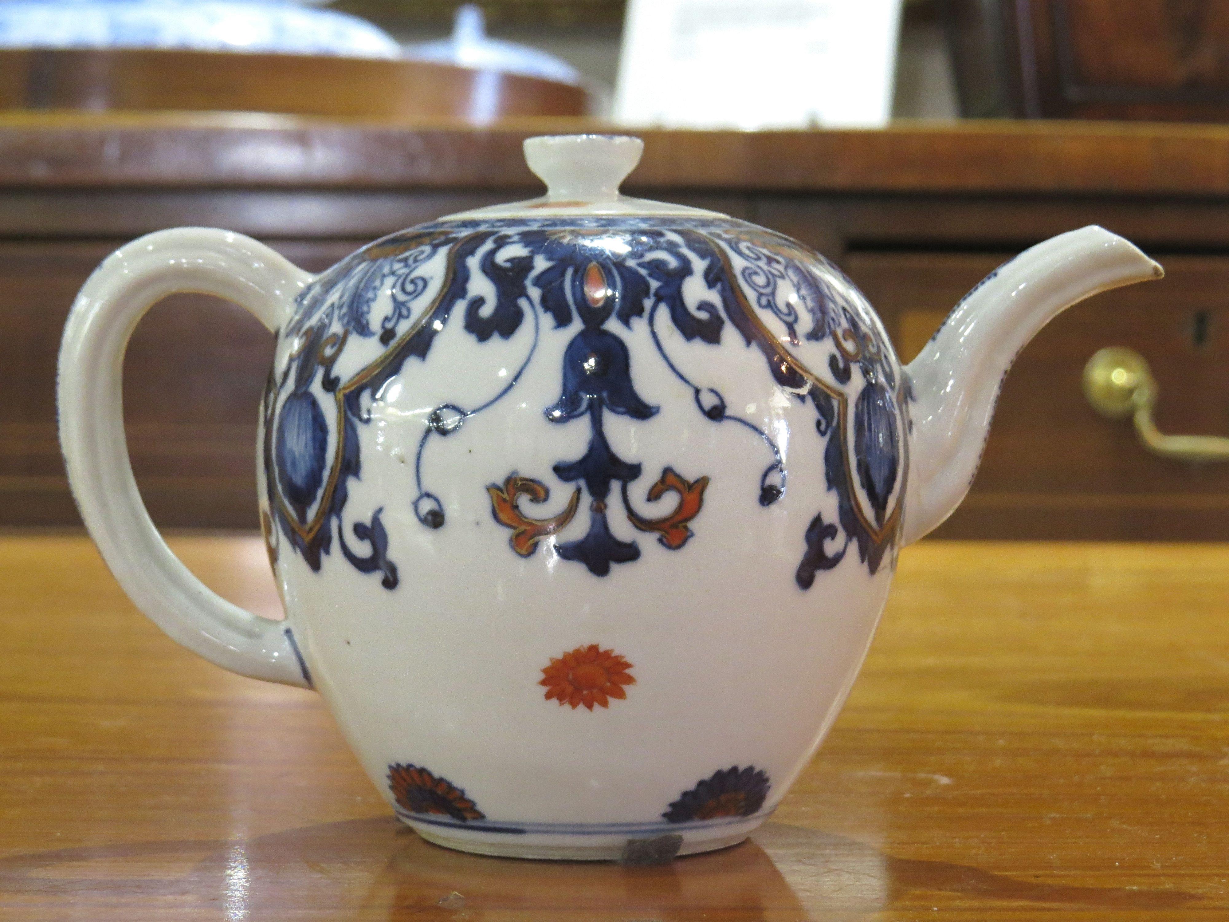 Chinese Blue Imari Tea Pot