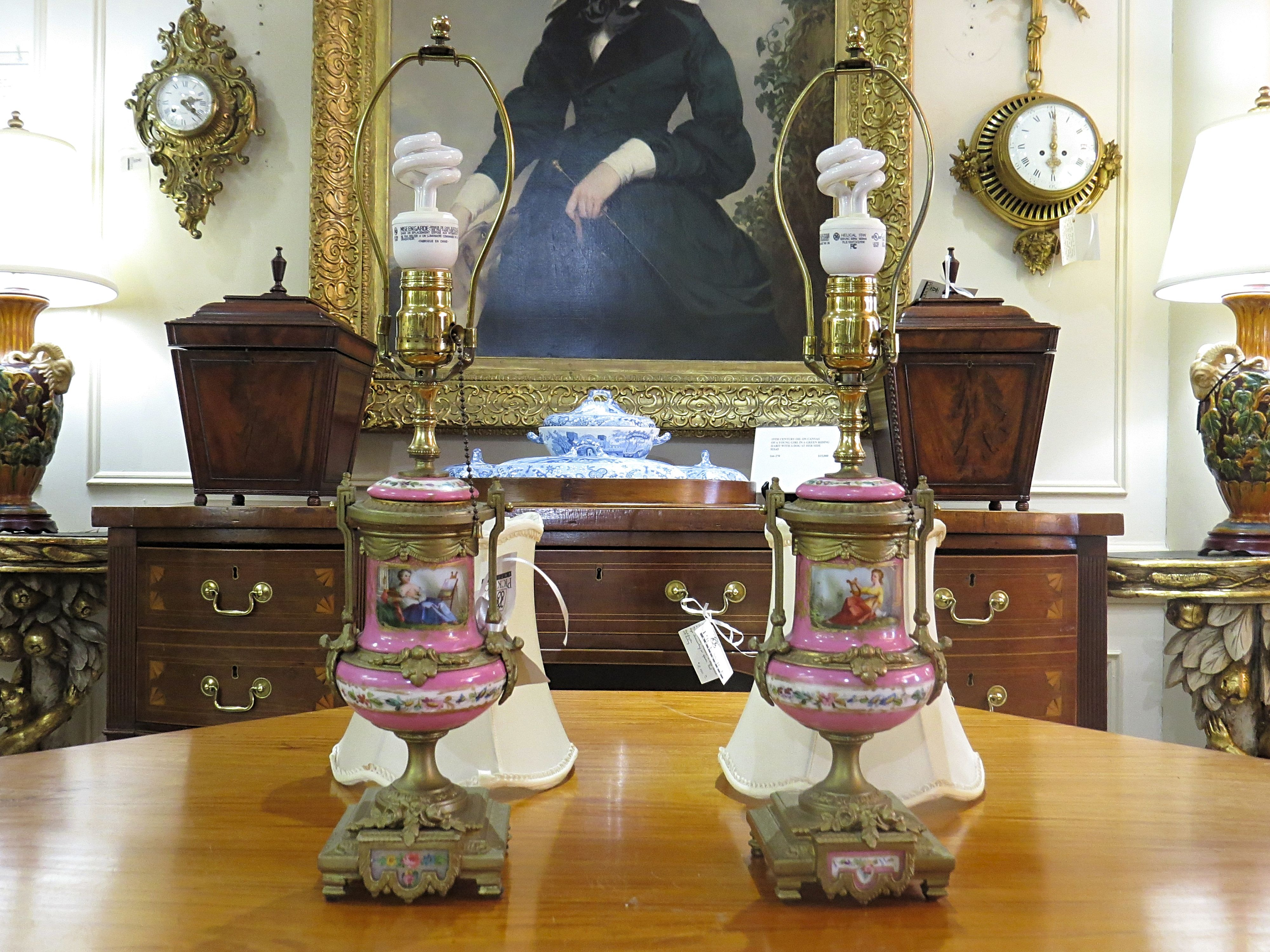 Pair of Pink Sevres Porcelain Table Lamps