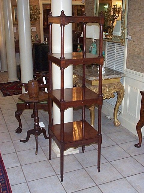 A Very Beautiful And Unique Mahogany Four Shelf