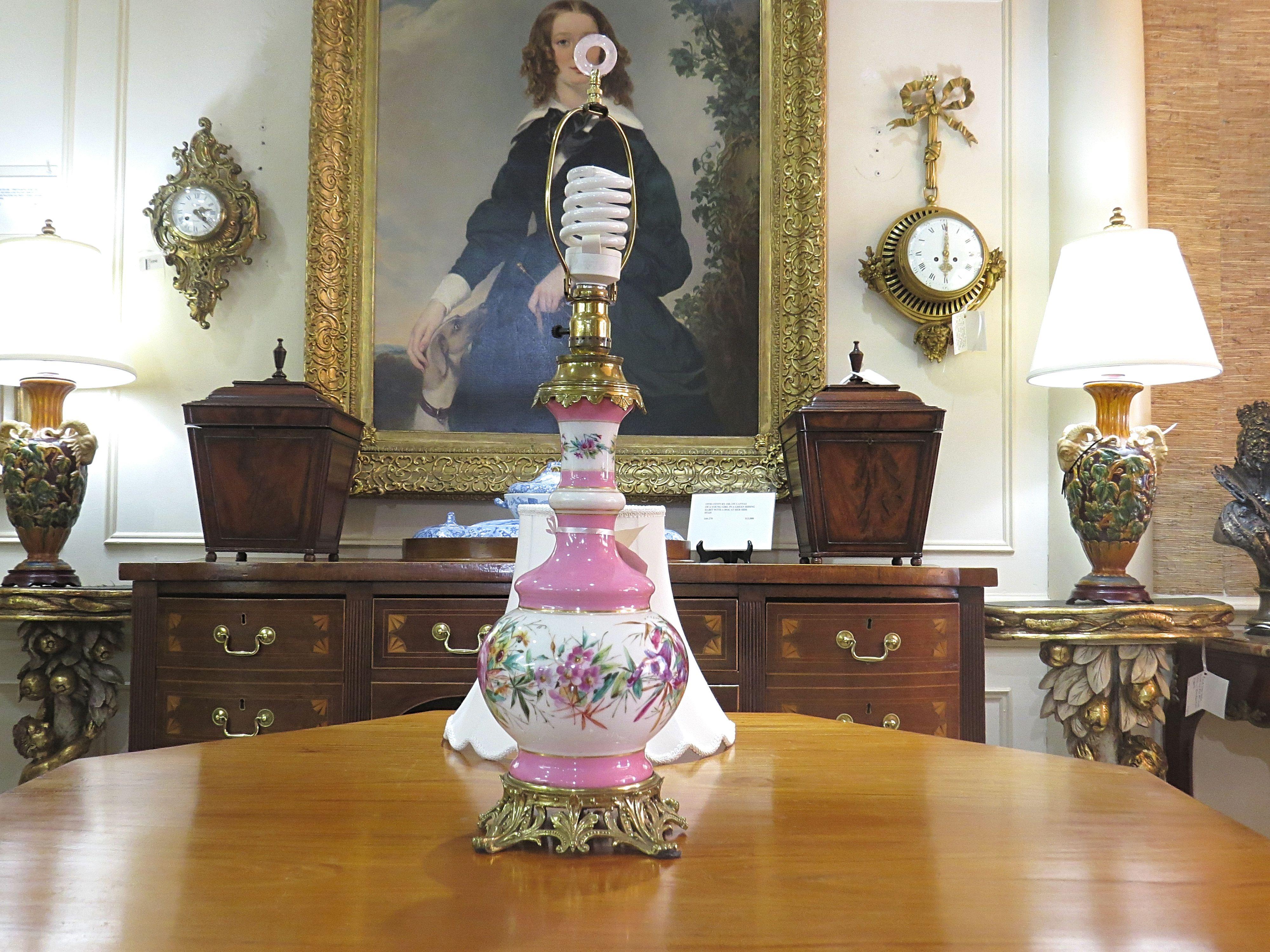 A Pink Porcelain Old Paris Table Lamp