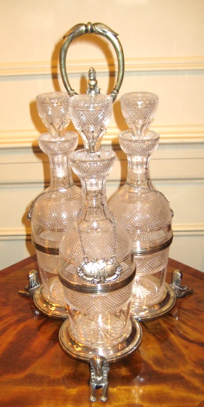English Regency Three Bottle Decanter Set