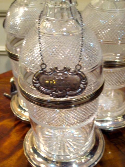 English Regency Three Bottle Decanter Set