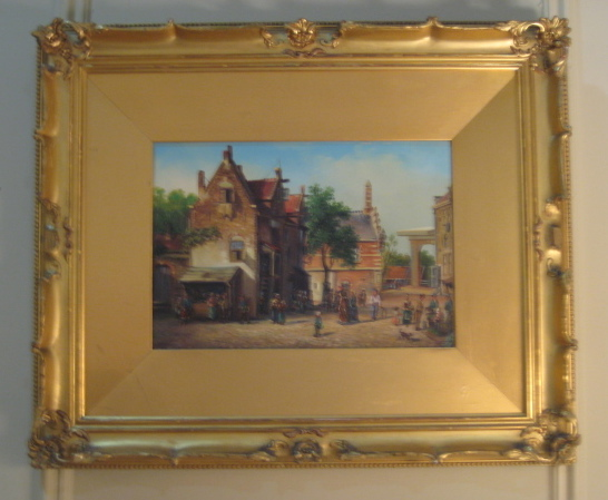 19th Century Genre Painting Of A Continental Town