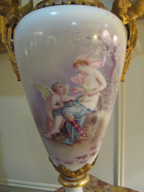 French Sevres Porcelain Capped Urn