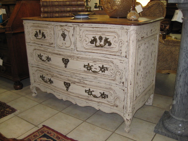Louis XV Style Serpentine Front Oak, Painted Commode