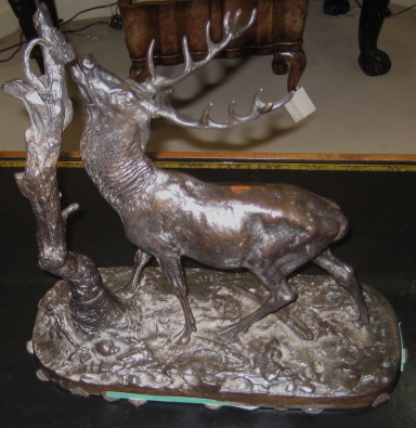 English Cast Iron Model Of A Stag Browsing