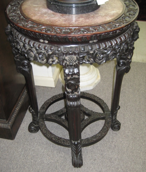 Chinese Carved Teakwood Stand