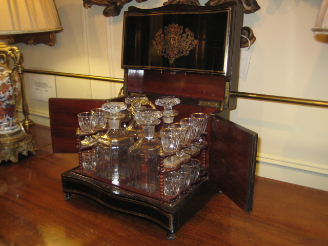 Liquer Set, Ebonized Inlaid Cabinet