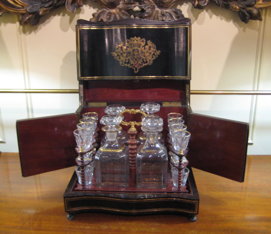 Liquer Set, Ebonized Inlaid Cabinet