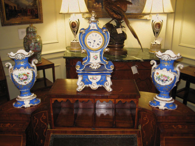 Three Piece Old Paris Porcelain Mantel Garniture