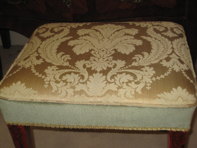 Oak Dressing Stool With Red Chinoiserie Decor