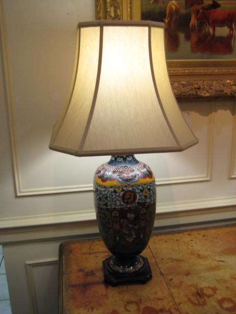 Pair Of Cloisonne Enamel Lamps