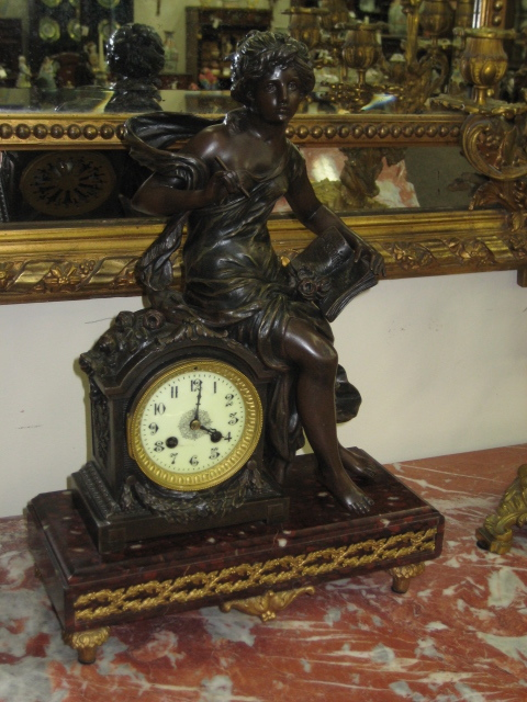 French Marble And Spelter Mantle Clock