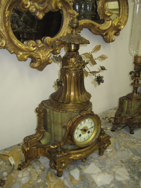 Louis XVI Onyx And Gilt Spelter Clock Set