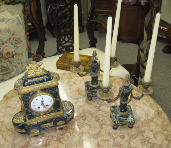 Louis XVI Bronze Mounted Verde Marble Clock And Candlesticks