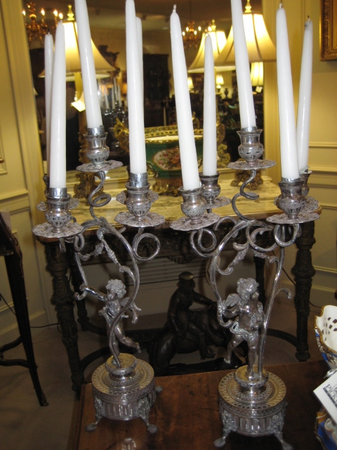Pair Of Fine Continental Sterling Silver Five Light Candelabras