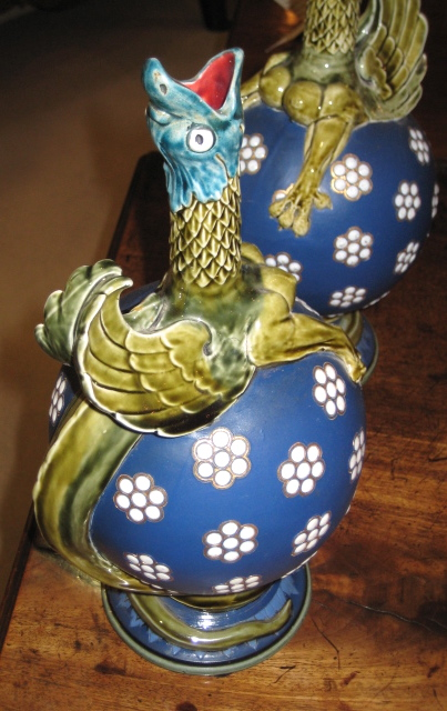 Pair Of Signed Mettlach Vases