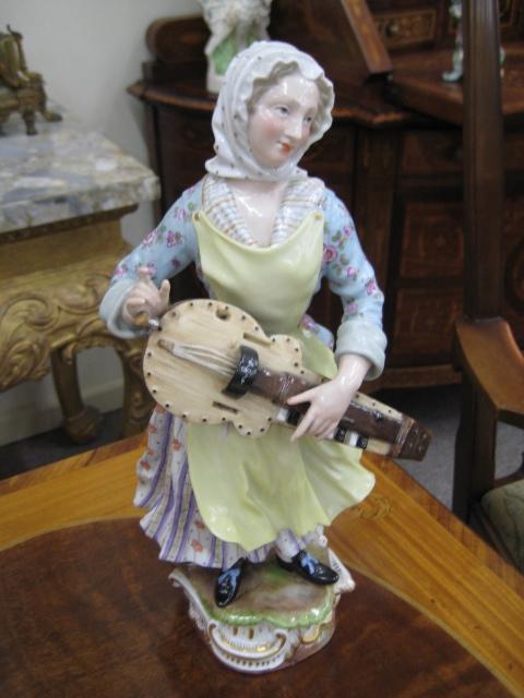 A Meissen Figure, Hurdy Gurdy Player