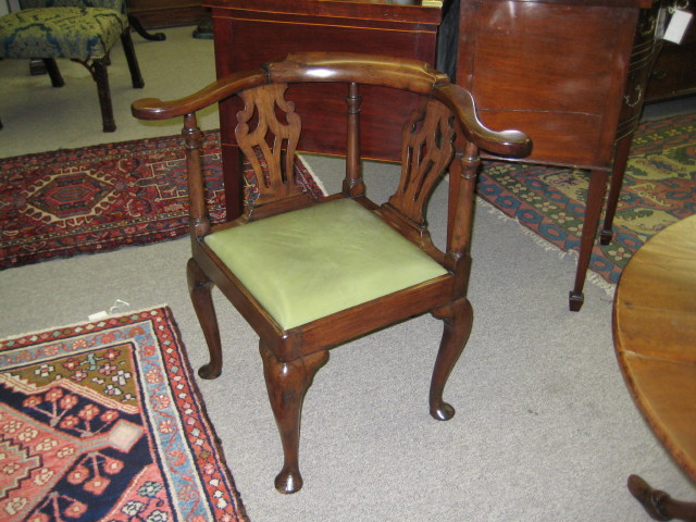 English Mahogany Corner Chair
