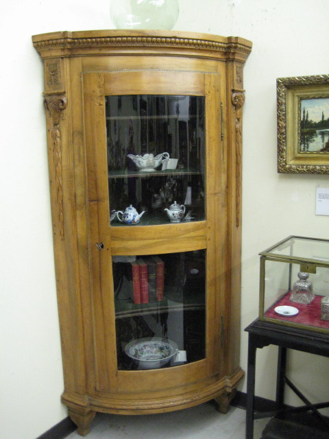 Extremely Rare Pair Of Antique Continental Walnut Bow Front Corner Cupboards.
