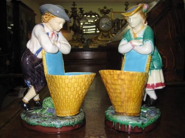 A Pair of Minton Majolica Vintner Posy Holders'