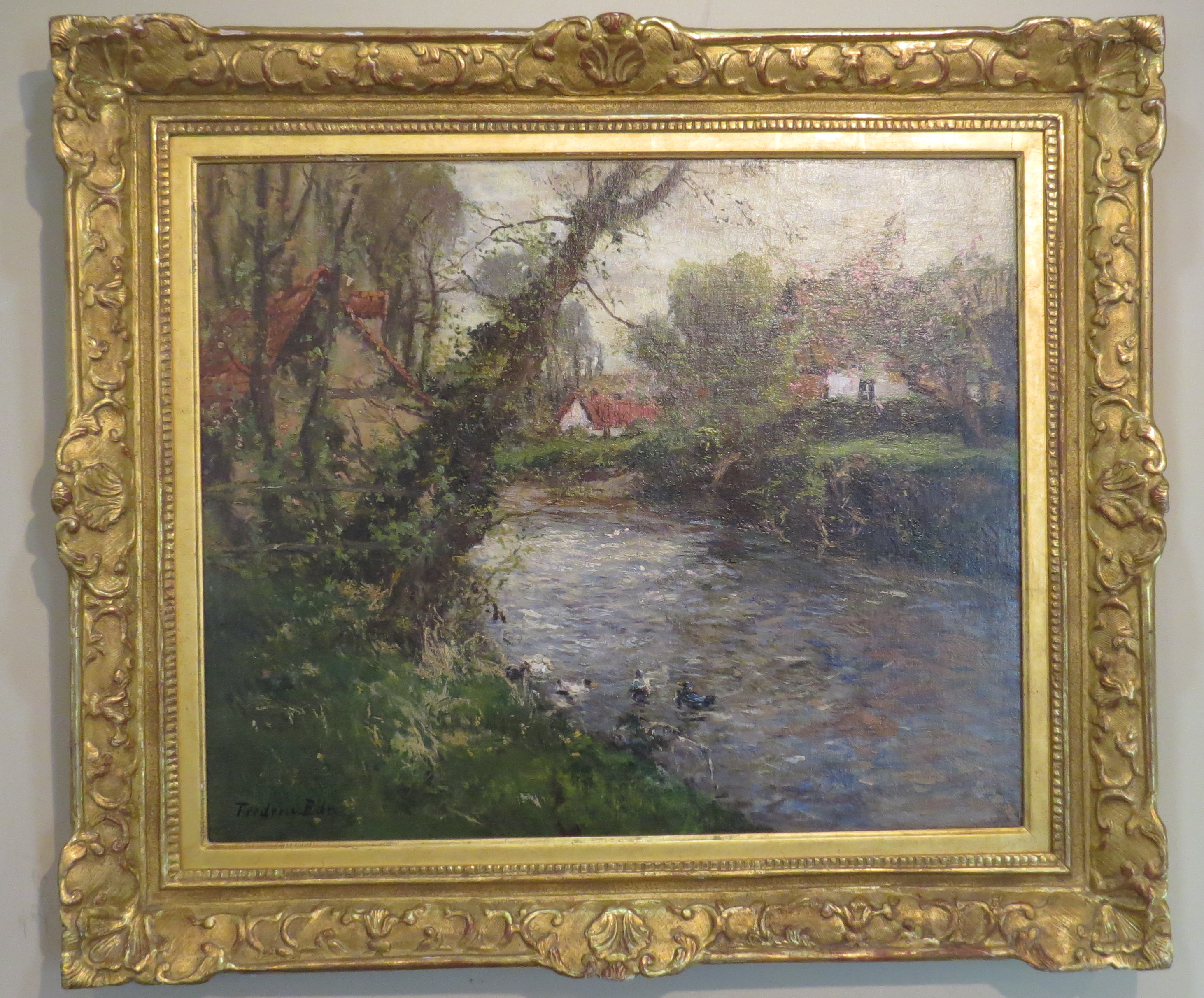 A Landscape Scene with Stream & Cottage, Oil on Canvas