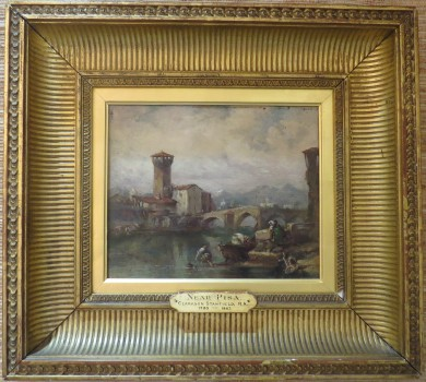 """Near Pisa"" by Clarkson Stanfield; Oil on Board"