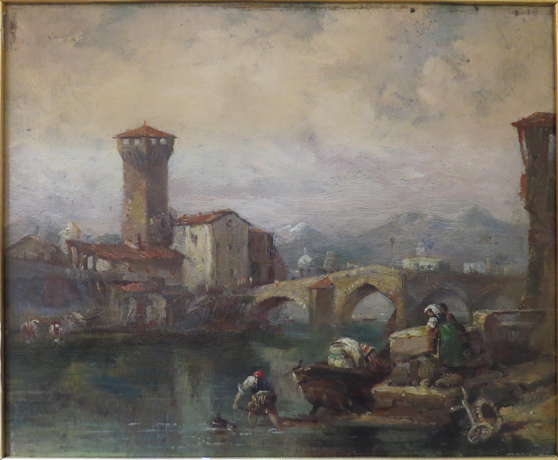 """""""Near Pisa"""" by Clarkson Stanfield; Oil on Board"""