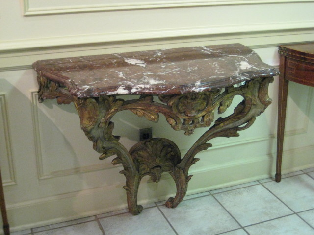 Norwegian Marble Top Console Table