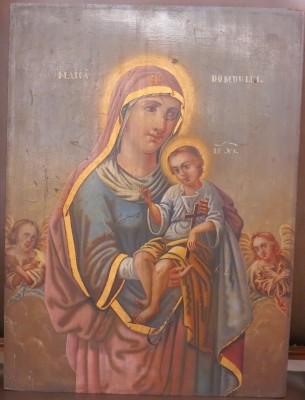 Madonna & Child; Romanian Icon on Wood
