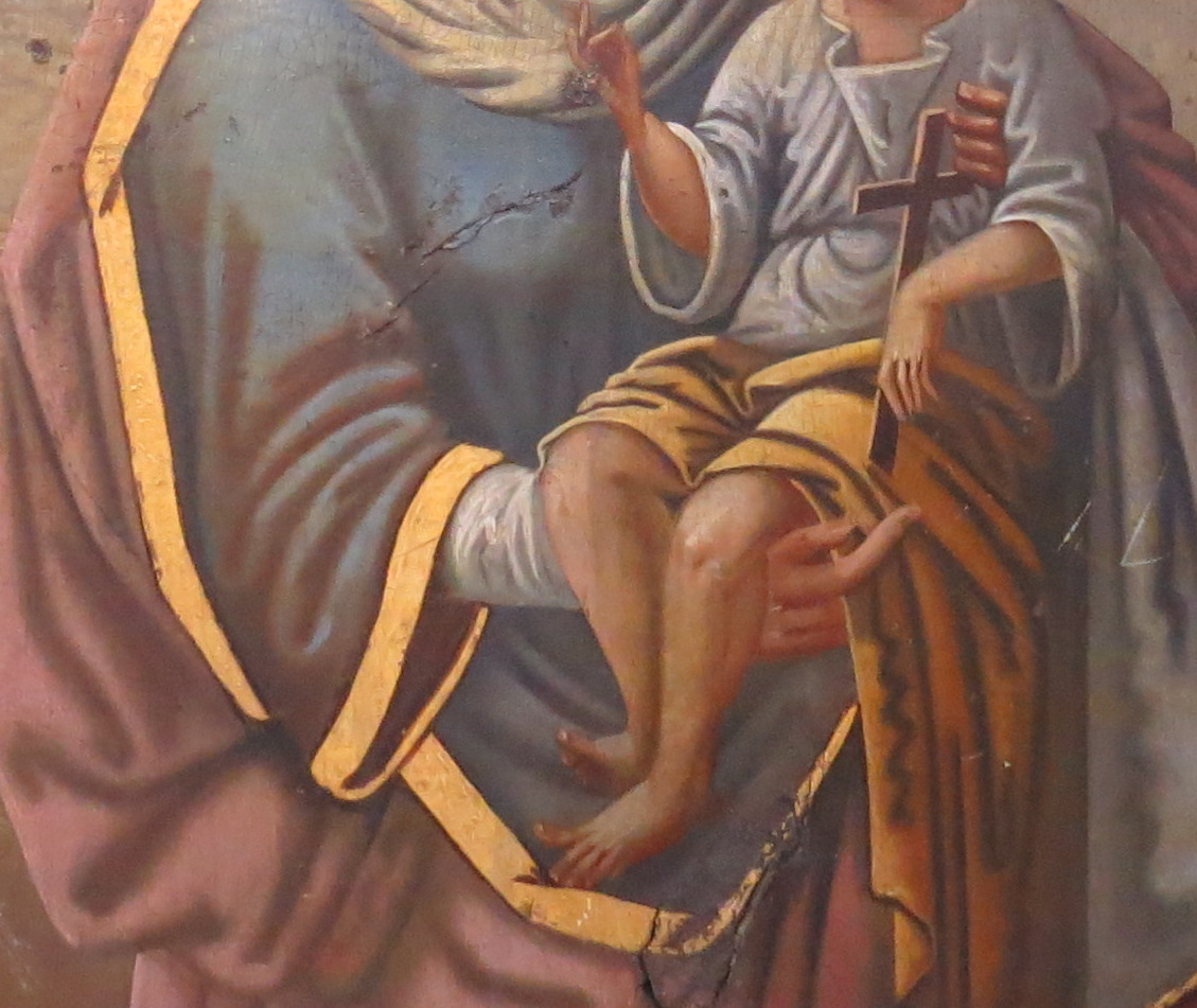 Madonna & Child; Romanian Icon on Wood