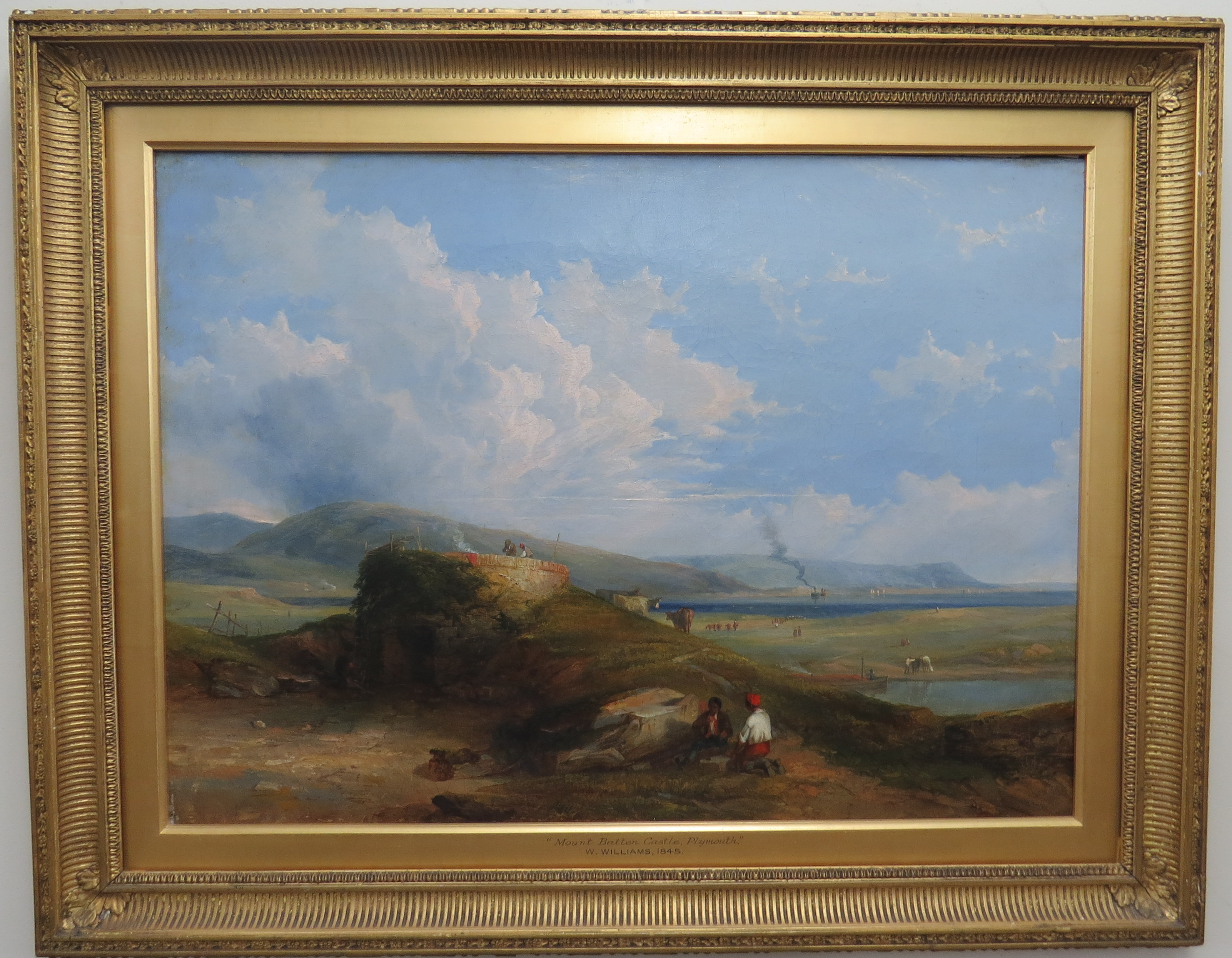 "Oil On Canvas of ""Mount Batten Castle"" By William Williams Of Plymouth, England"