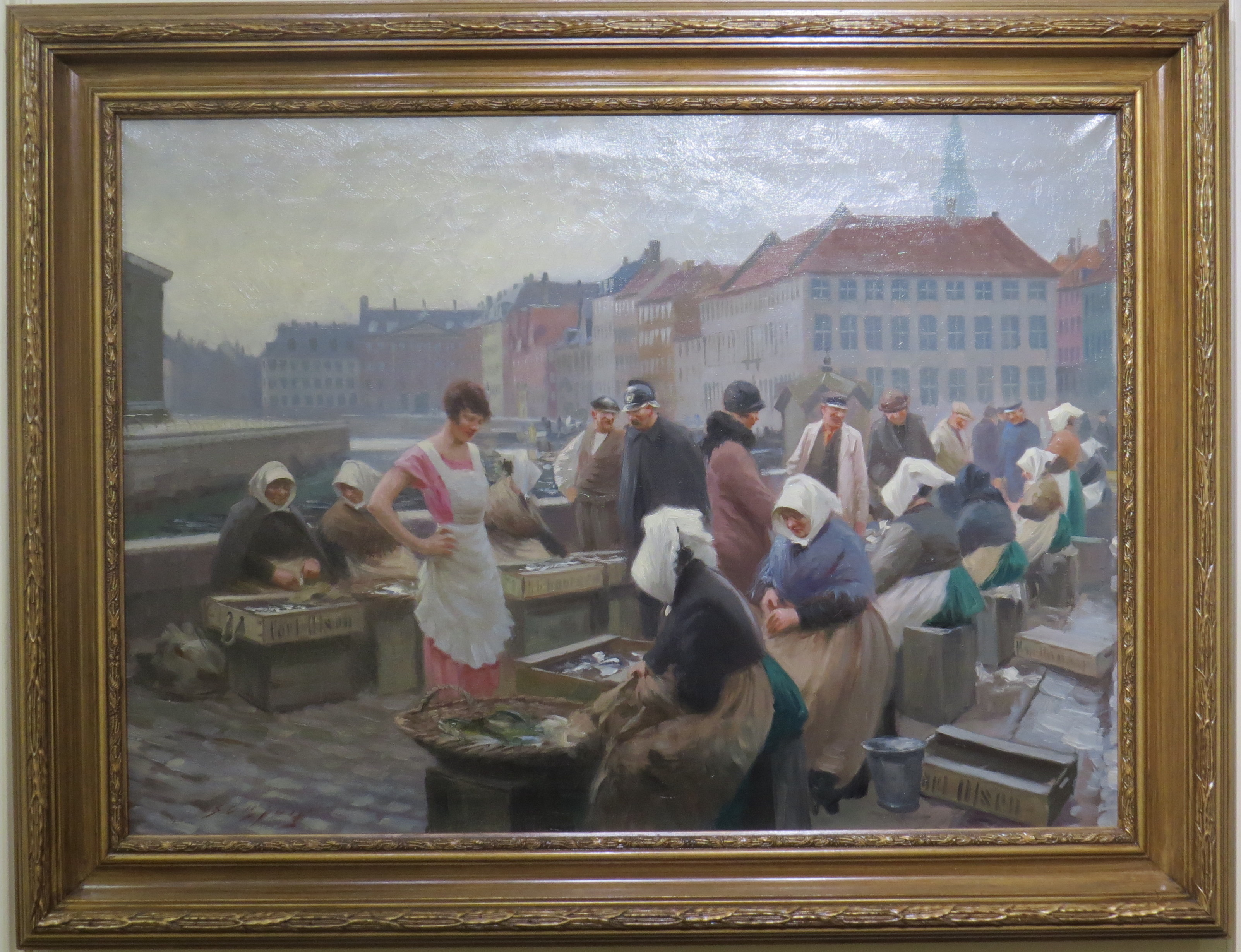 Oil On Canvas Of An Early 20th Century Danish Market