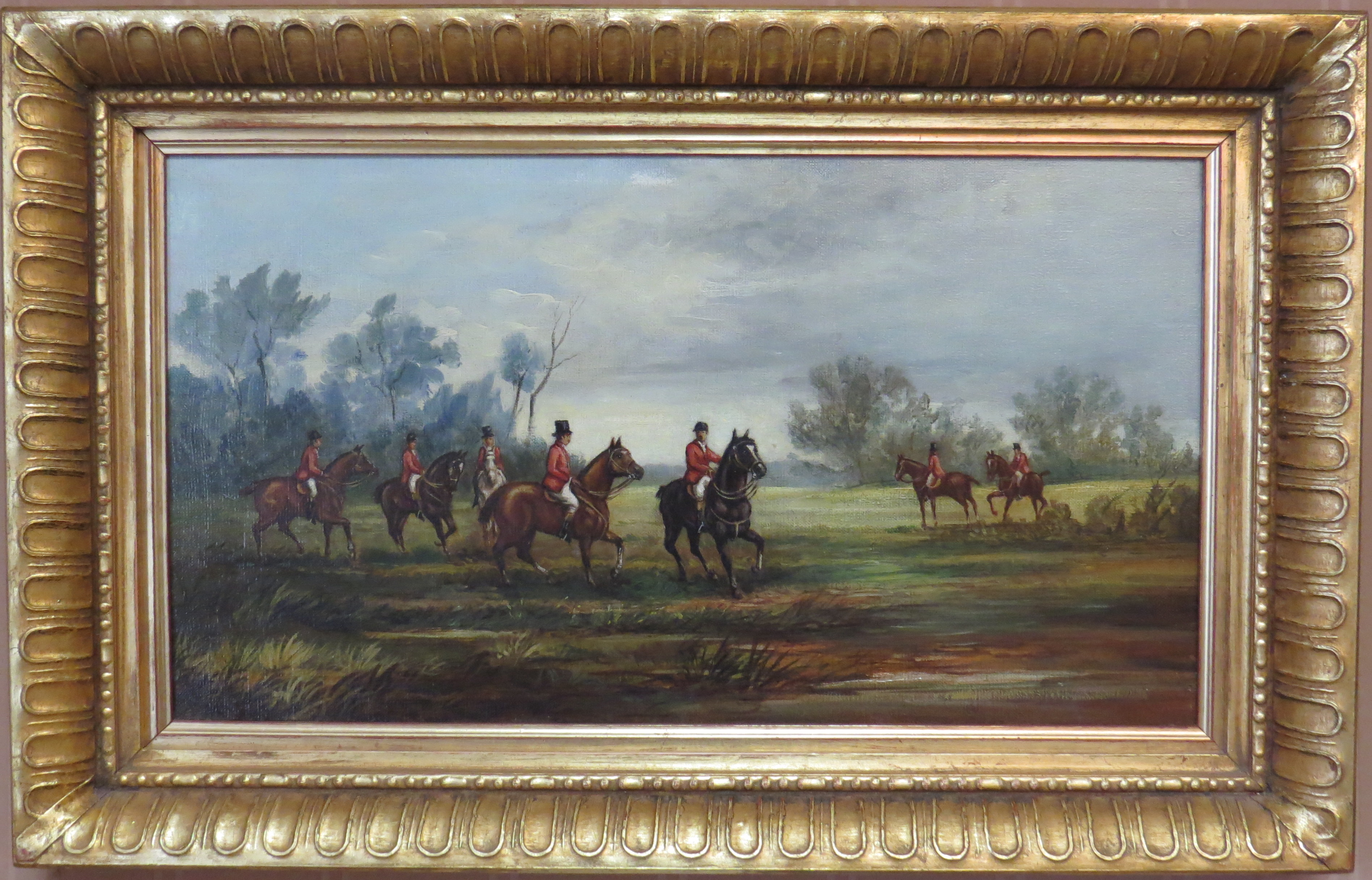 A Pair Oils on Canvas of English Fox Hunting Scenes  (SOLD)