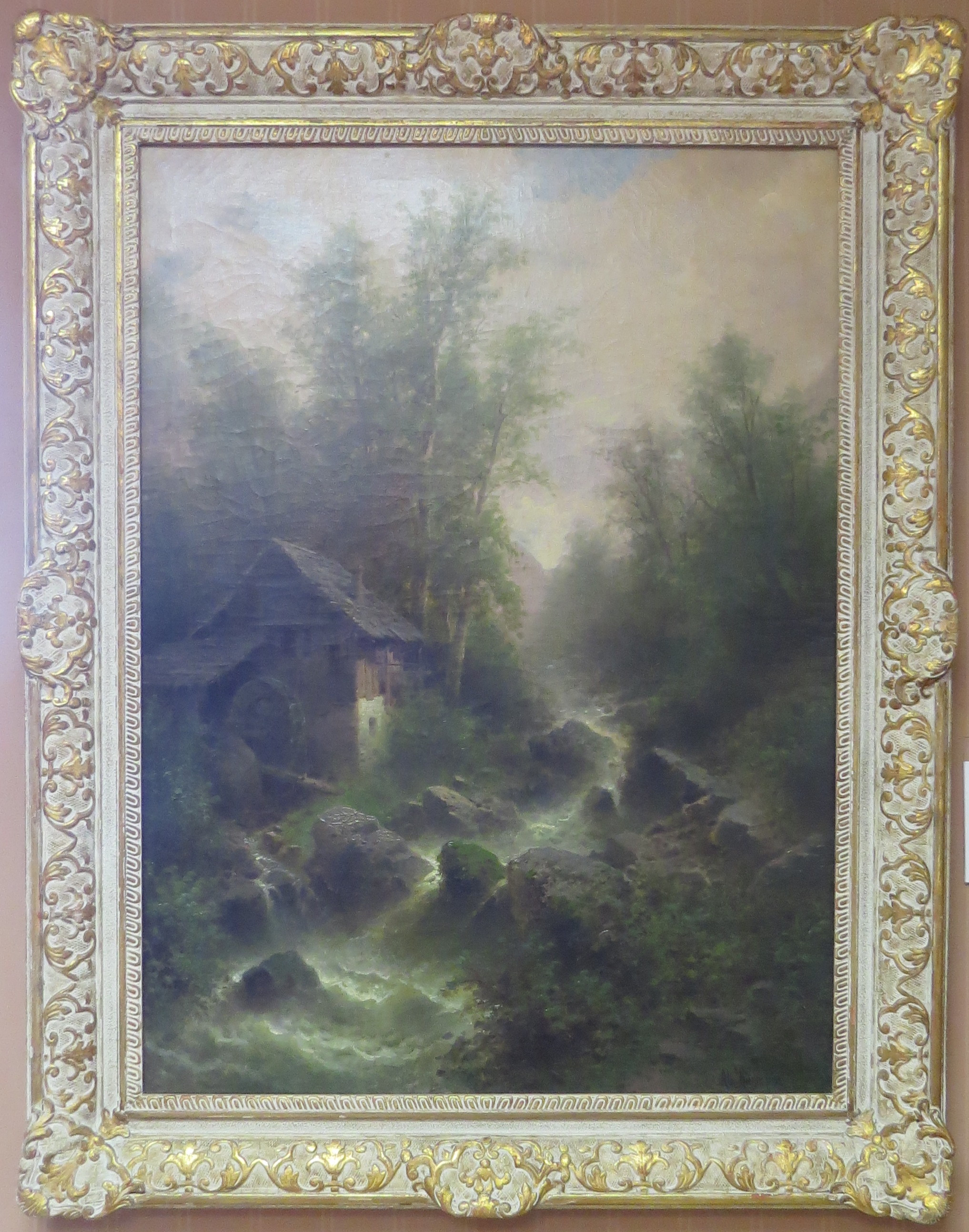 Oil on Canvas of a Mountain River & Mill Scene, Signed Albert Rieger (Austrian, 1834-1905)