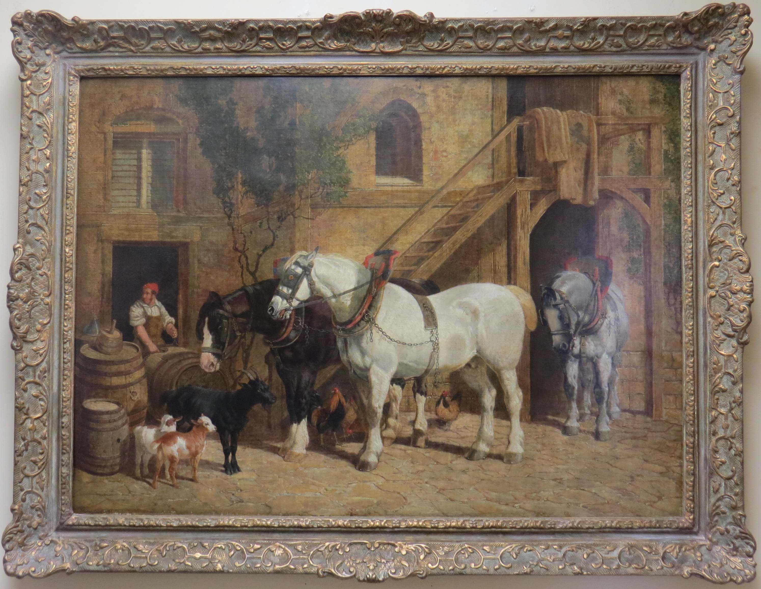 "Oil on Canvas of ""Horses and Goats in a Stable Courtyard"" signed J.F. Herring, Sr."