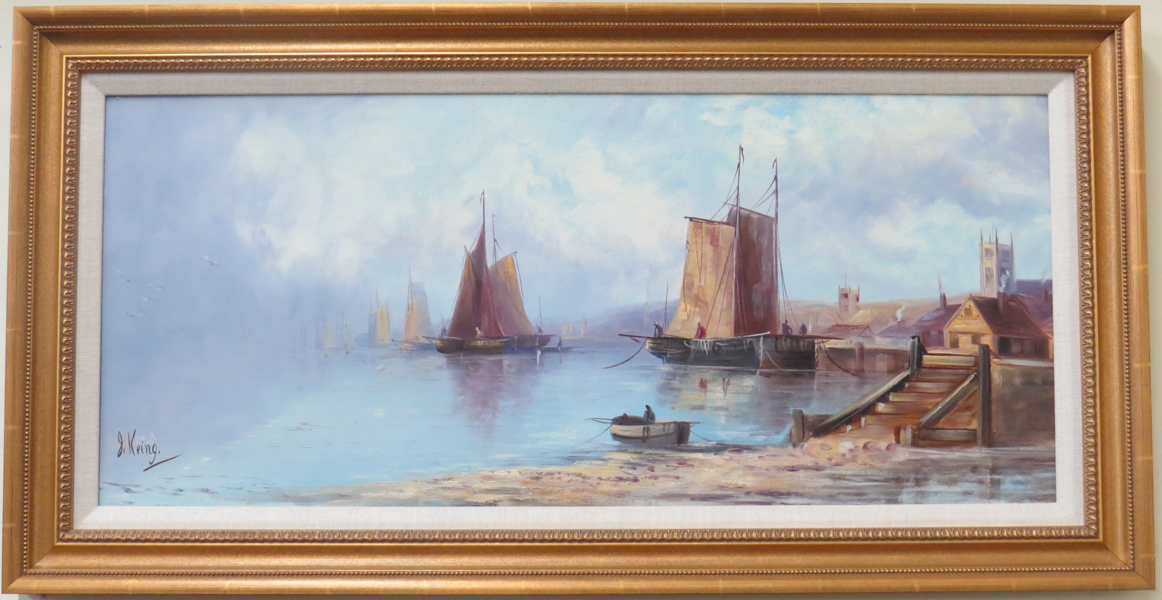 Watercolor of a Dutch Harbor Scene with Village and Dock, Signed J. Keing