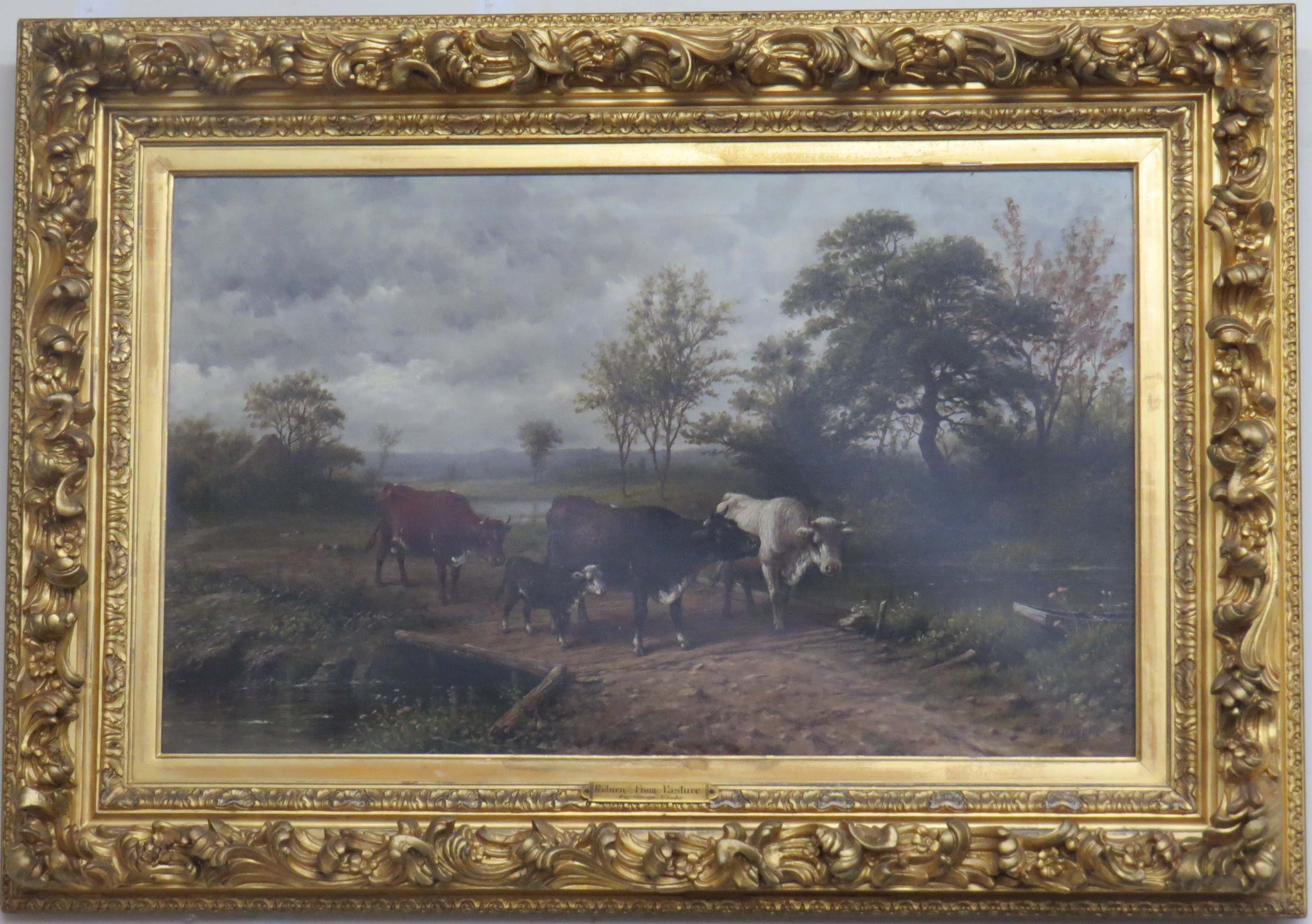"Oil on Canvas of ""Return From Pasture"" by American Artist, George Riecke (1848-1930)"