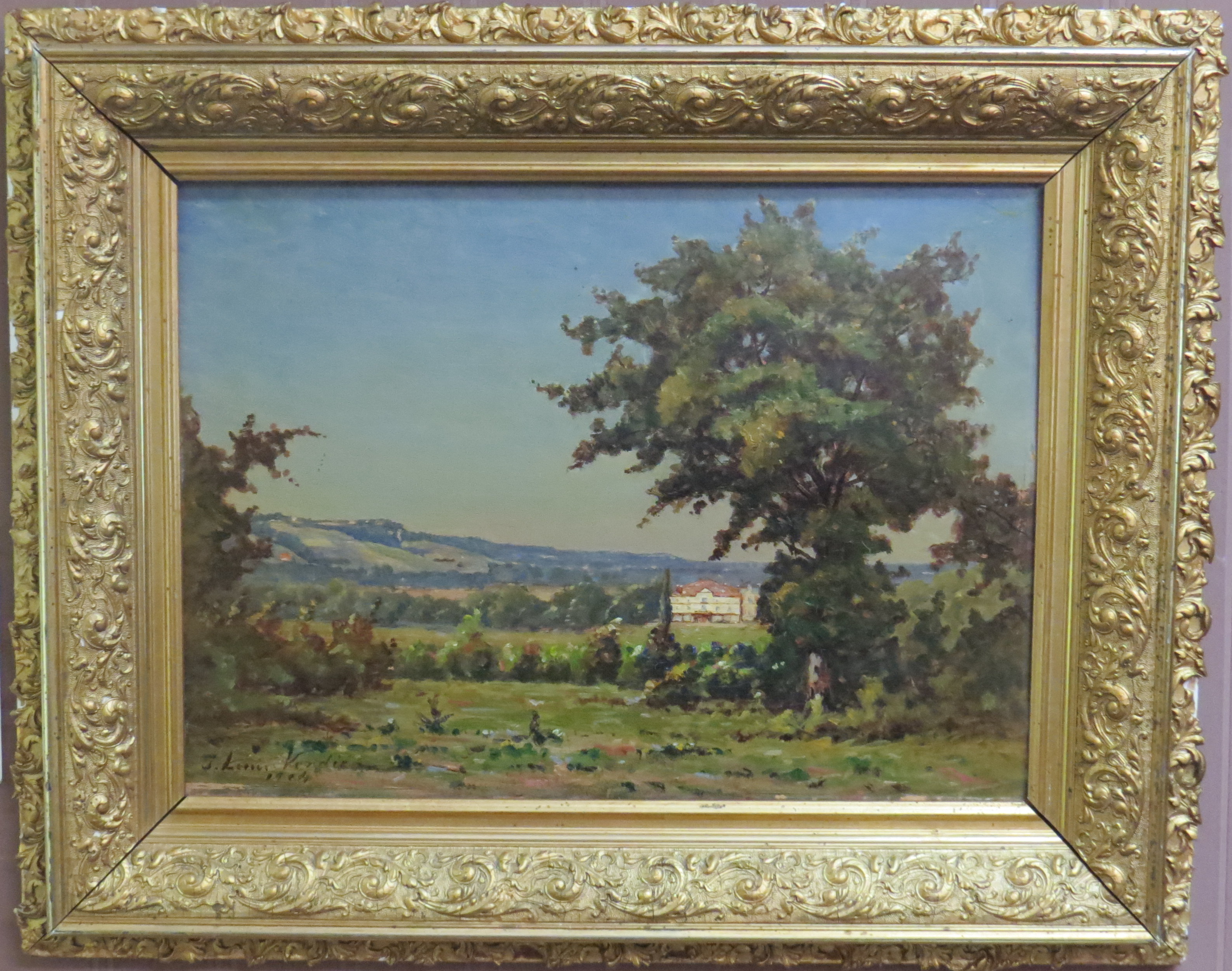 "Oil on Panel of ""View of a Chateau in the French Countryside"" by French artist, J. Louis Verdie"