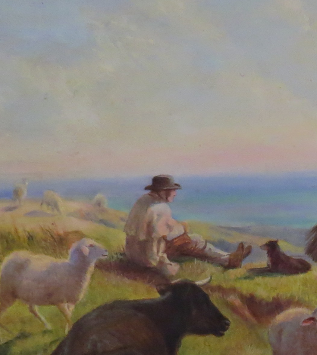 Oil on Panel of a Country Scene Near Boulogne Sur Mer, Signed Henry William Banks Davis